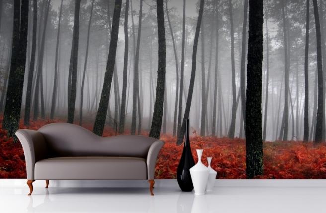 Misty-Orange-Floor-Forest-Mural-Wallpaper-Room