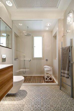 ciment et bois salle de bain