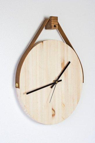 horloge bois et cuir